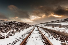 Narrow gauge track (Kevin Sloan @ KSSImages) Tags: uk greatbritain sunset snow train canon landscape photography scotland photographer rail gb freelance kssimages kevinsloan