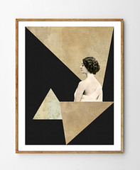Mirage (StellaireStudio) Tags: woman white abstract black art geometric home girl fashion collage illustration triangles vintage painting gold photo beige women dress geometry mixedmedia surreal artdeco minimalism decor deco minimalistic minimalist scandinavian walldecor vintagepaper vintagebookpage