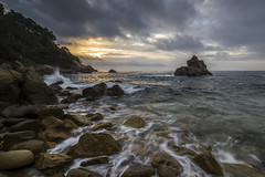 My First Mention (dasanes77) Tags: trees sea sun seascape water clouds sunrise reflections landscape rocks waves shadows tripod contest shoreline dramaticsky lloretdemar blackcard magiclight canoneos6d samyang14mm28 myfirstmention