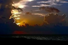 Caribbean Sunset (brucecarlson66) Tags: ocean travel blue sunset sea vacation cloud storm reflection tourism beautiful rain yellow mexico evening tourist tropical caribbean cozumel attraction