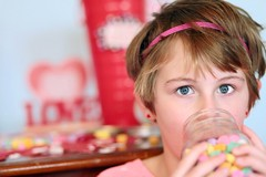 Busted! (Lexi_80) Tags: silly love girl canon hearts fun funny child yum candy 5 awesome daughter naturallight danville candyhearts feb caught canoneos valentinesday fiveyearold candyjar indoorphotography canon6d portriatphotography