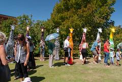 I Want One of Those (Jocey K) Tags: newzealand christchurch sky people colour tree art design event cameras giraffe sculptures russleygolfclub giraffesculptures standstallproject