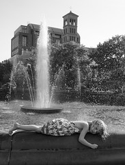 D7K_1743_ep_gs (Eric.Parker) Tags: nyc bw usa newyork fountain girl square washington washingtonsquarepark bigapple prone 2014