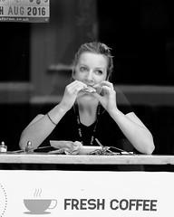 Coffee Break (James- Burke) Tags: blackandwhite candid casual coffeeshop customers england fuji fun girleating snacking streetcandid travel york yorkshire bw people
