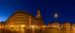 Dresden 180..... (kanaristm) Tags: city longexposure blue germany dresden lowlight europe cobblestone 180 hour bluehour citysquare neumarkt panograph