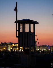 And Now His Watch is Ended (gifu88) Tags: italy italian rimini beach watchtower watch is over ended got colors evening
