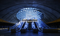 Beam me up! (Dan_Fr) Tags: city light architecture railway ship alien underground stairs station space tube escalator craft docklands futuristic scifi metro mrt london uk dlr thames sony canary wharf exit wayout isleofdogs a7r rayapro