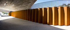 Kings Avenue pedestrian underpass (sbyrnedotcom) Tags: canberra rx100 panorama walkway structures underneath kingsavenue rust metal underpass architecture buildings civil act australia