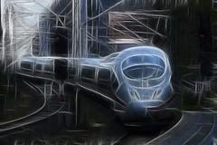 Tren ICE en Colonia (antonio-gonzalez) Tags: tren ferrocarril vehiculo ice photoshop angovi railway train alemania germany