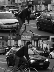 [La Mia Citt][Pedala] (Urca) Tags: milano italia 2016 bicicletta pedalare ciclista ritrattostradale portrait dittico nikondigitale mir bike bicycle biancoenero blackandwhite bn bw 872112
