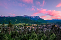 The Blushing Olympic Village (Anna Shtraus) Tags: bavaria germany mountains mountain alps sunset clouds garmisch trees village skies fujifilm fujixpro2
