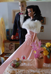 Enchanted (Emily1957) Tags: enchantedevening vintageponytailbarbienumber4 ken tuxedo pink mattel fashion dolls doll toys toy lace belgianlace frut444 satin fur light naturallight nikond40 nikon kitlens