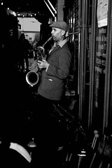 Late Fifties Cool (Ranford Stealth) Tags: fujixt1 fuji35mmf14 fremantle westernaustralia cafe music musician jazz saxophone sax baritonesax saxophonist mood blackwhite bw mono monochrome street