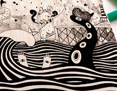 El barranco de la mar 1 (bransolo) Tags: illustration ilustracin bran slo branslo bransolocom wwwbransolocom tiendabransolocom dibujo drawing pintura painting tarot wood sea mar madera arte art hombre man surrealism surrealismo espaa spain murcia ilustrador illustrator jess cobarro yepes abarn ceut tentacle tentculo barco boat ship pencil ink acrylic acrlico lpiz tinta