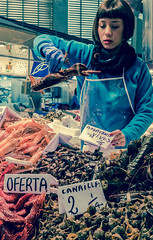 Putting out the lobsters - Mercado Central - Valencia (Cross Process Effect)  (High ISO) Panasonic Lx100 (markdbaynham) Tags: street leica city people urban food valencia lens four lumix spain cross zoom market live candid central stall fresh panasonic espana mercado spanish espanol shellfish lobster third fixed ft metropolis es process effect 43rd compact lx mercat evf dmclx lx100 2475mm u43 f1728 lumnix u43rd dmclx100