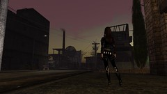 Dead End (alexandriabrangwin) Tags: world street city light woman black wet leather work computer dark dead evening 3d graphics ruins shiny factory boots dusk hiking smoke exploring gear rubber dirty stack glossy secondlife virtual end latex corset gun