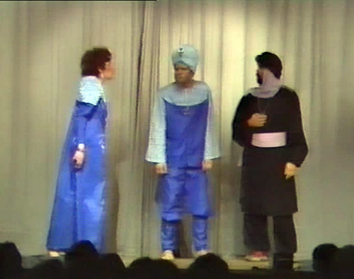 1986 Sinbad the Sailor from video (from left Beryl Wragg, Mark Schofield, Chris Birkby)