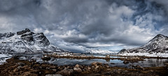 A wider view (Nigel Jones QGPP) Tags: winter sky snow mountains reflection water norway clouds rocks dramatic fjord drama arcticcircle tromso nikefex kvaloya
