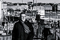Man with scarf (Per sterlund) Tags: street city people blackandwhite bw streets monochrome mono blackwhite europe sweden stockholm streetphotography sigma panasonic streetphoto scandinavia bnw streetview streetshot 2015 panasonicdmcgm1