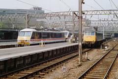 19900421 024 Euston. 90018 Arrives Whilst 85011 (E3066, Later 85114) Awaits Its Next Duty (15038) Tags: electric br trains locomotive railways britishrail class90 90018 class85 85011 85114 e3066