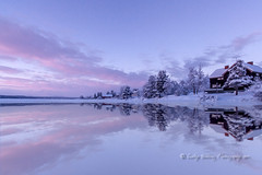twilight reflections (pixellesley) Tags: trees houses sunset lake snow ice water forest reflections twilight village sundown lakeside arctic subzero