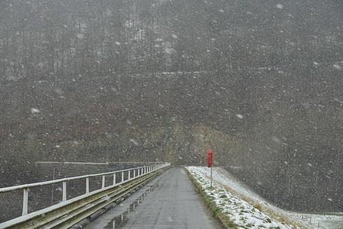 Forte averse de neige fondante