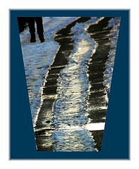 Walk outside the tracks (Walter A. Aue) Tags: winter snow canada reflection ice water puddle novascotia legs tracks trail hiker digitallyaltered walteraaue digitallydoctored