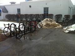 Winter Bikes (usmsustainability) Tags: snow abandoned bicycle portland racks