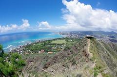 Waikiki & Honolulu from Diamond Head (sarowen) Tags: ocean sky cloud water clouds landscape hawaii bluewater bluesky trail diamondhead honolulu rim waikikibeach craterrim honoluluhi diamondheadcrater downtownhonolulu honoluluhawaii