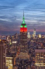 Empire State Building - New York City (glsfna) Tags: nyc newyorkcity blue sunset red green skyline night buildings empirestate
