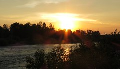 Missoula MT ~ Clark Fork River sunset (karma (Karen)) Tags: trees light silhouette reflections montana glare shadows sunsets missoula rivers 4summer clarkforkriver