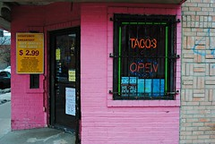 Bellas Fuentes (Cragin Spring) Tags: city pink urban usa chicago restaurant illinois midwest neon open unitedstates unitedstatesofamerica tacos chitown il mexican neonsign chicagoillinois chicagoil windycity backoftheyards bellasfuentes