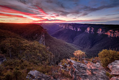 Grose Valley Sunset (robertdownie) Tags: world new blue trees mountains heritage rock wales forest river bush sandstone south australia cliffs lookdown valley nsw gorge remote wilderness anvil grose pearces