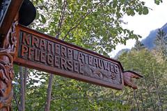 Partenkirchen - Waldgebiet um Partenkirchen (36) - Knstlerischer Wegweiser (Pixelteufel) Tags: garmischpartenkirchen bayern bavaria alpen urlaub ferien freizeit erholung ruhe tourismus wegweiser hinweis hinweisschild holzschmitzerei kunst