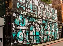 feast or famine on the wall (PDKImages) Tags: street city windows girls urban streetart london art girl beauty graffiti women scenery rooftops faces skin camden stripes murals caged shoreditch walls contrasts owls