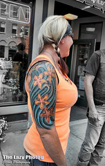 July 18 2014 - Beautiful half sleeve at Beartooth Rally (lazy_photog) Tags: street red woman mountains beautiful john photography highway montana main rally young pass tattoos lodge lazy motorcycle wyoming elliott photog beartooth worland 071814beartoothrally2