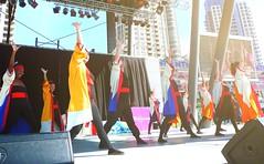 Ai Nippon Final Pose (Sakuramai Toronto) Tags: show blue red summer people sun sunlight canada color girl yellow festival japan pose outdoors japanese dance costume outdoor live stage group performance dancer   mississauga aichi yosakoi kariya japanesefestival japanfestival