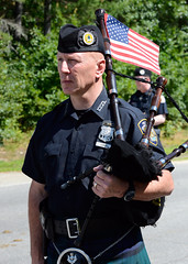 Bagpipe player in New Hampshire Police Association Pipes and Drums corps at Lee, New Hampshire, 250th anniversary parade (Blake Gumprecht) Tags: newhampshire player parade celebration lee bagpipe 2016 250thanniversary newhampshirepoliceassociationpipesanddrums