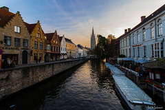 Bruges Canals 2 - October 2015 (Paul Subrenat) Tags: bruges belgium canals veniceofthenorth wideangle sunset water europe canon oldstone brick oldcity