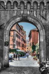 Gateway (beelzebub2011) Tags: italy rome streets bw monochrome selectivecoloring