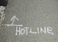Hot line (V and the Bats) Tags: hotline wisconsin westallis handwriting lettering ontheroad awalkonthehankaaronbicyclepath hankaarontrail