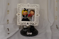 She Said YES - Clothespin doll set (creatingtreasures) Tags: wedding blackandwhite engagement crochet frame proposal valentinesday clothespindoll