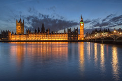 Blue hour at the Palace of Westminster (Digital Traveler) Tags: bridge england london westminster clouds canon evening unitedkingdom dusk bigben bluehour riverthames hdr westminsterbridge houseoflords palaceofwestminster houseofcommons 60d