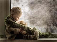 warm (iwona_podlasinska) Tags: bear winter light boy snow cute window childhood scarf kid child view teddy iwona myfavouriteplace twittertuesday