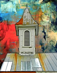 Old Primitive Baptist Church After the Hurricane with Replaced Tin:  Tranters Creek Area, Beaufort County, North Carolina (EdgecombePlanter) Tags: wild nc colorful south religion northcarolina stormy textures southern carolina baptist mystical magical bold churchsteeple fantascy