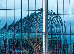Farnborough Airship Hangar Reflection (Wayne Cappleman (Haywain Photography)) Tags: park old uk building history glass skeleton photography cove wayne hangar hampshire historic business ribs airship farnborough refelction haywain cappleman