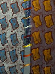 Loop-hole —  Claude Viallat (1936, Nîmes-), Sans titre, Acrylique sur bâche recto-verso, 6x4.20 m, det-1988 (michelle@c) Tags: blue brown color scale painting grey grande large montpellier musée cover repetition motive dimension fabre artworks empreinte monumental acrylique 2014 loophole véronèse titien oeuvres meurtrière claudeviallat rectoverso rétrospective letintoret michellecourteau