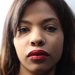 #nonfilters (vandra) Tags: red portrait face look nose rojo eyes retrato afro cara makeup lips piercing squareformat labios mirada nariz aro mulata iphoneography instagramapp