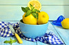 Lemons in a blue bowl. (lilechka75) Tags: blue summer food leaves yellow vertical horizontal table wooden leaf lemon healthy raw cut eating background acid group knife mint bowl vegetable fresh tropical medicine organic aromatic plenty section herb peppermint freshness aroma ingredient aromatherapy friut