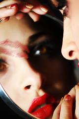 Sarah (MitikaFe) Tags: red girl beautiful beauty face fashion photography lights model eyes kiss skin makeup lips lipstick gaze mirron sarahruscitti